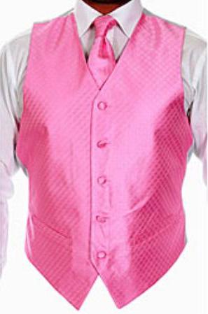 SKU#YT6758 Mens Four-piece Pink Vest Set $49