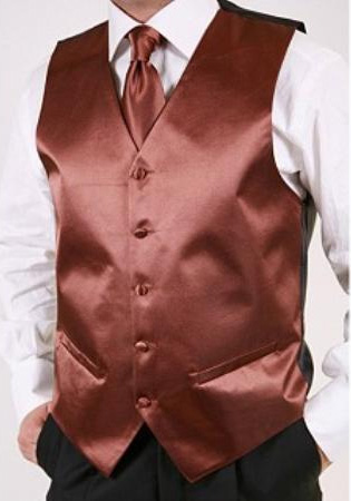 Brown 2-piece Vest Set