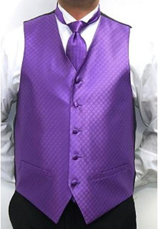 SKU#VU5640 Mens Four-piece Vest Set Purple $75