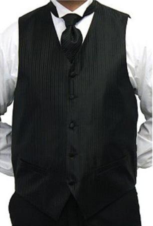 Mens Black Fourpiece Vest Set