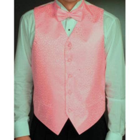 SKU#KJ9056 Men's Pink Four-piece Vest Set