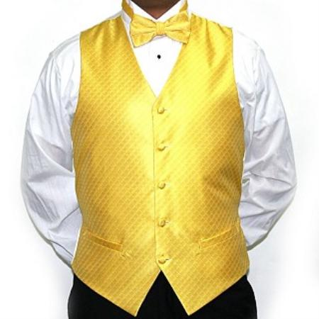 SKU#WJ9034 Men's Yellow Four-piece Vest Set