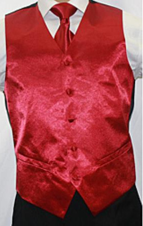 SKU#HN8900 Mens Shiny Burgundy Microfiber 3-piece Vest $75