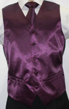 MensUSA.com Mens Shiny Dark Purple Microfiber 3 piece Vest(Exchange only policy) at Sears.com