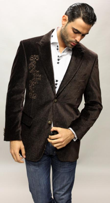 SKU#TG4760 Luxor Color Brown Sport Coat Feel Very Nice For All Occasion Velvet Fabric $139