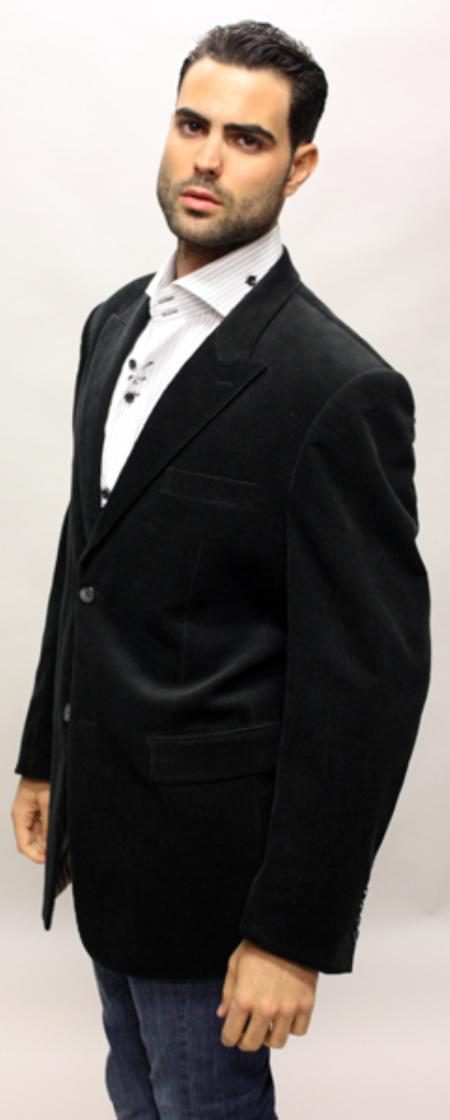 SKU#KY8200 Black Velvet Fabric Solid Sport Coat 2 Button with Back Vent Italian Made $89
