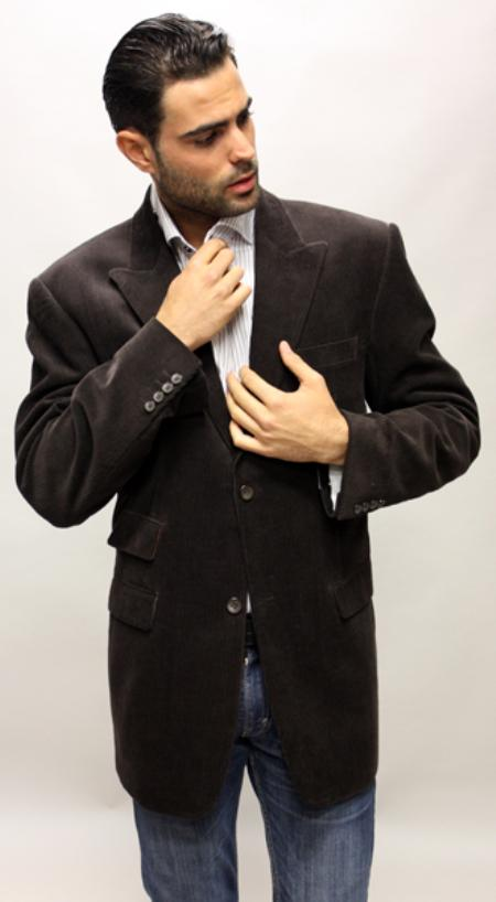 MensUSA.com Brown Velvet Fabric Solid Sport Coat 2 Button with Back Vent Italian Made (Exchange only policy) at Sears.com