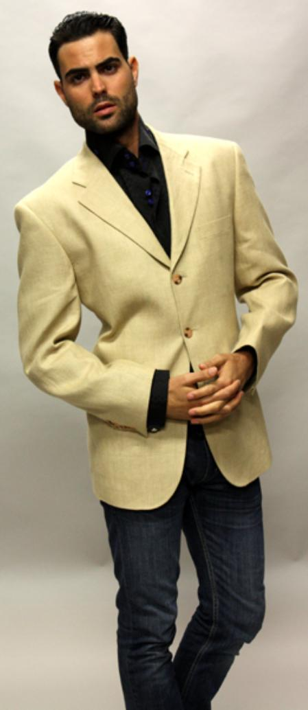 SKU#VS7609 Tan Linen Sport Coat 3 Button a Must Have Jacket $89