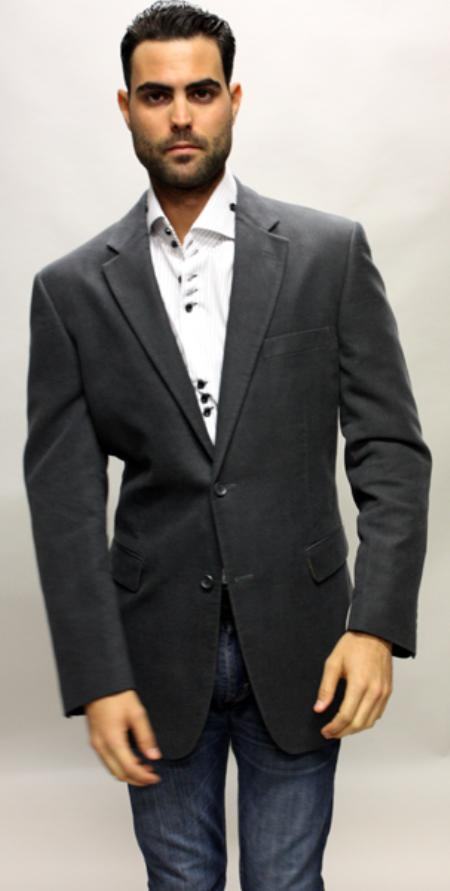 SKU#YH5620 Charcoal Sport Coat Its One of a Kind Velvet Fabric For All Occasion $139