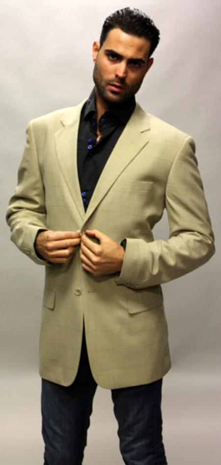 SKU#CH6288 Tan ~ Beige Sport Coat with Square Pattern This Jacket Is a Winner 2 Button $89