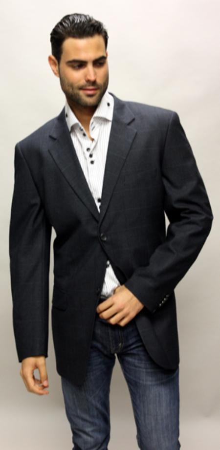 SKU#KG7835 Navy Sport Coat with Square Pattern This Jacket Is a Winner 2 Button