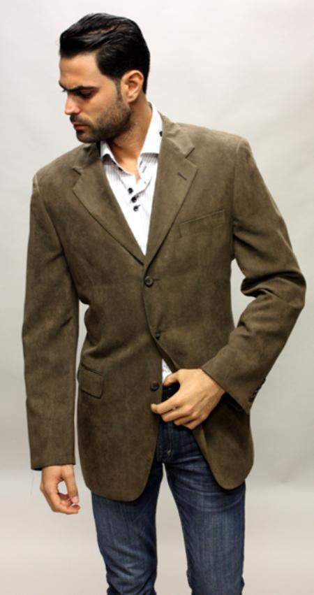 SKU#YB9034 Brown Sude Feel Sport Coat This Jacket Is a Winner 3 Button with Back Vent $89