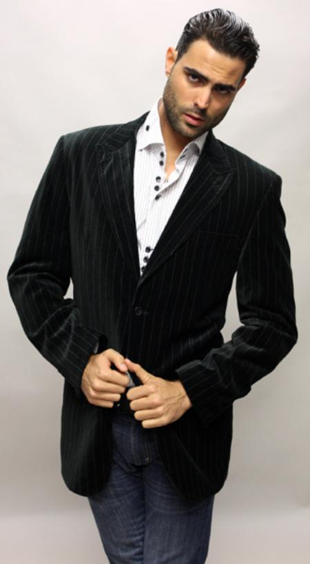 SKU#VR7200 Black with White Stripe Sport Coat Its One of a Kind Super 150s For All Occasion $89