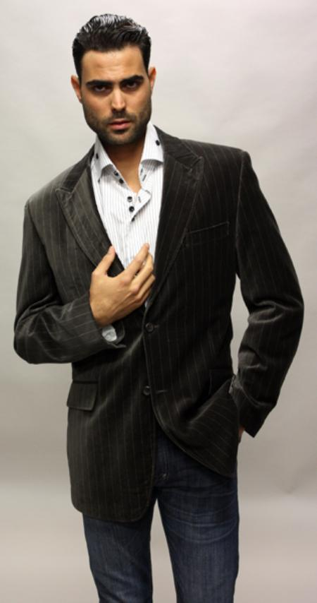 MensUSA.com Brown with White Stripe Sport Coat Its One of a Kind Super 150s For All Occasion(Exchange only policy) at Sears.com