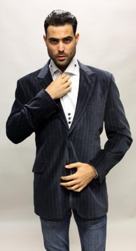 SKU#HN2398 Navy with White Stripe Sport Coat Its One of a Kind Super 150s For All Occasion $89