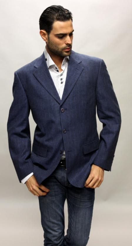SKU#HF7830 Navy Sport Coat Its One of a Kind Super 150s For All Occasion $89