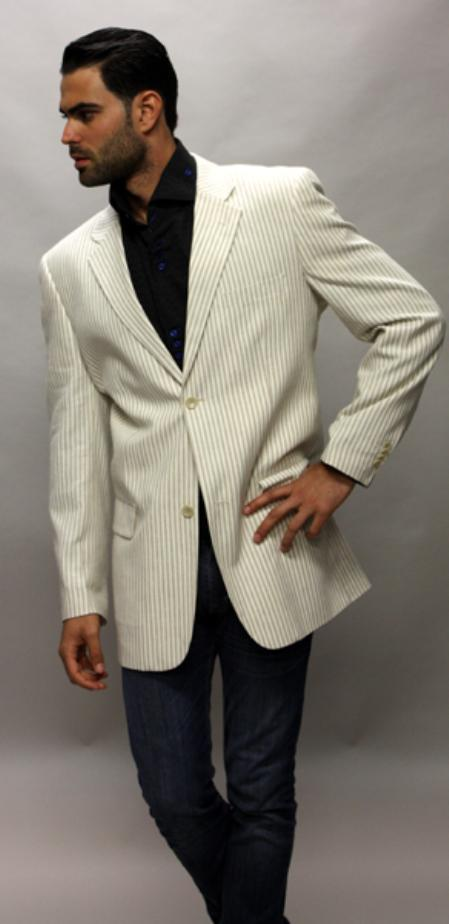 SKU#CF3400 Beige 100% Linen Sport Coat 2 Button a Must Have Jacket $89