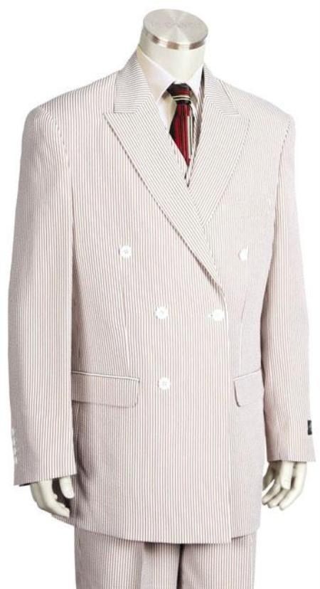 SKU#GY6199 Mens Unique Double Breasted Seersucker Suit in Soft Poly Rayon Grey $185