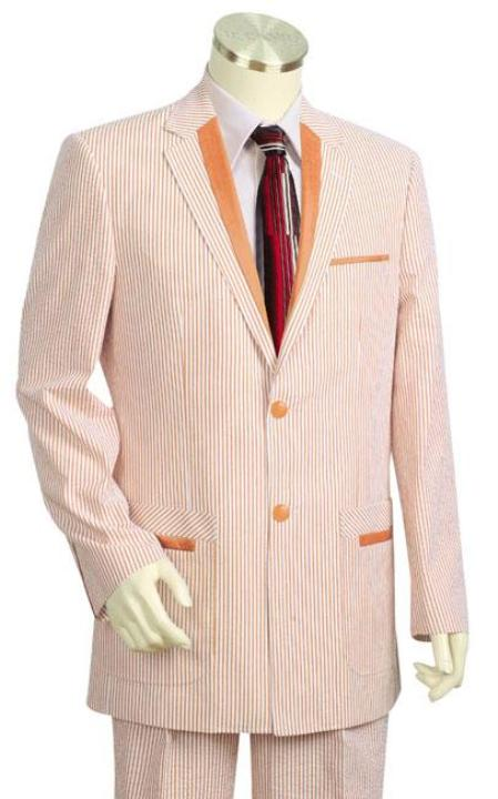 SKU#MK7289 Mens Fashion Seersucker Suit in Soft 100% Cotton Beige $185
