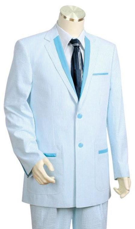 Men's Vintage Style Suits, Classic Suits Stay Cool Seersucker 100 Cotton 2-Button Suit Side Vented Jacket  Pleated Pants Lightweight Suit in Light Blue Sky Blue Pastel $185.00 AT vintagedancer.com