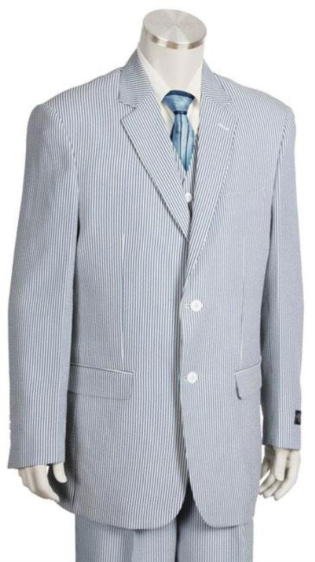 SKU#HC6233 Mens Fashion 3pc Seersucker Suit in Soft Poly Rayon Blue $185