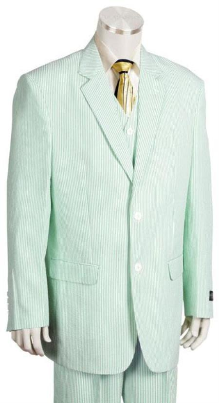 SKU#KG6399 Mens Fashion 3 Piece Seersucker Suit in Soft Poly Rayon Whitelime mint