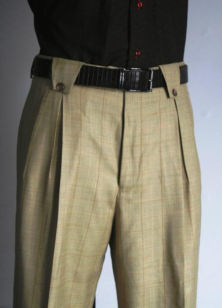 SKU#YG6720 Mens Super 150s 100% Wool Wide Leg Dress Pants / Slacks Tan $125