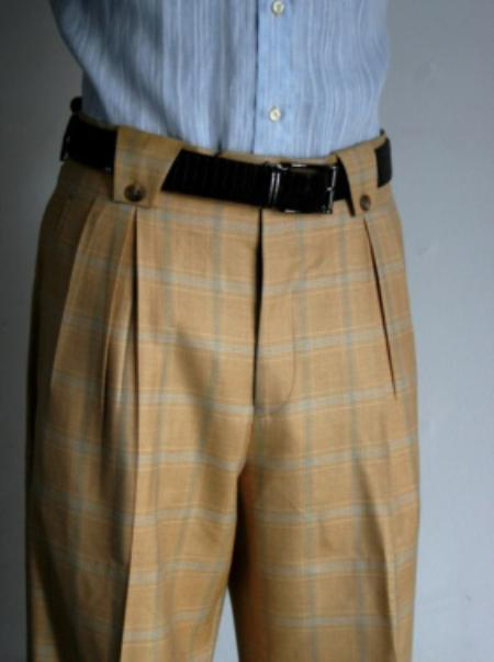 SKU#GQ3420 Mens Super 150s 100% Wool Wide Leg Dress Pants / Slacks Camel ~ Khaki $125