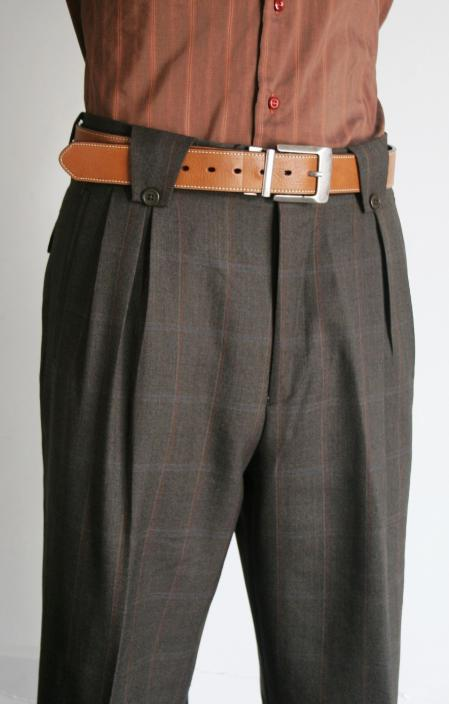SKU#RF6344 Mens Super 150s 100% Wool Wide Leg Dress Pants / Slacks Charcoal $125