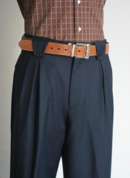 1940s Trousers, Mens Wide Leg Pants Mens Supers 1 Wool Wide Leg Dress Pants  Slacks Navy $125.00 AT vintagedancer.com