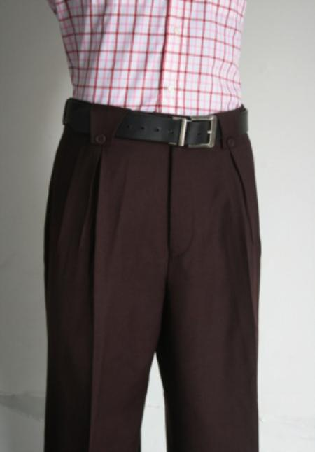 SKU#VY7849 Mens Super 150s 100% Wool Wide Leg Dress Pants / Slacks Wine $125