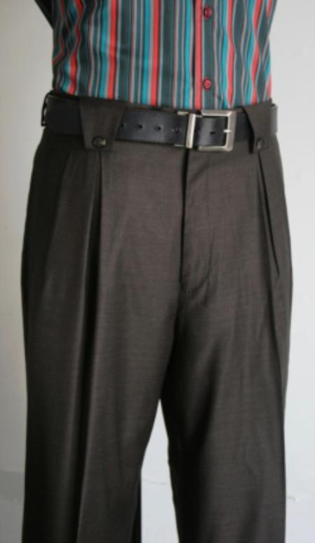SKU#ER6390 Mens Super 150s 100% Wool Wide Leg Dress Pants / Slacks Dark Olive $125