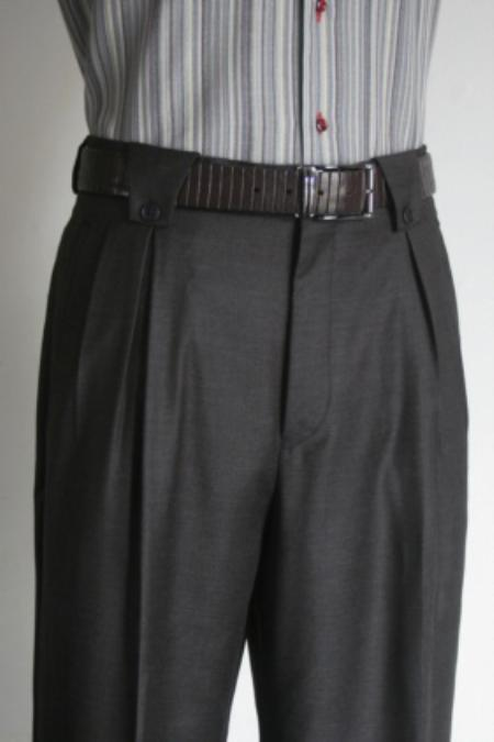 SKU#KG5633 Mens Super 150s 100% Wool Wide Leg Dress Pants / Slacks Charcoal