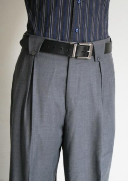 SKU#FV9302 Mens Super 150's 100% Wool Wide Leg Dress Pants / Slacks Grey