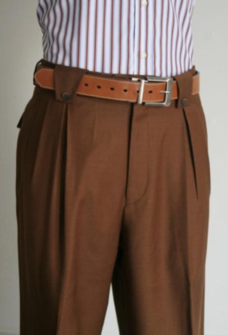 SKU#PH7856 Mens Super 150s 100% Wool Wide Leg Dress Pants / Slacks Khaki $125
