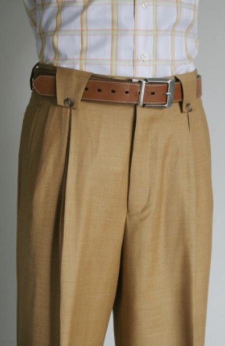 SKU#HG7200 Mens Super 150s 100% Wool Wide Leg Dress Pants / Slacks Tan $125