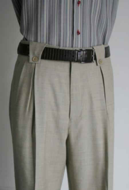 SKU#MR8956 Mens Super 150s 100% Wool Wide Leg Dress Pants / Slacks Grey $125