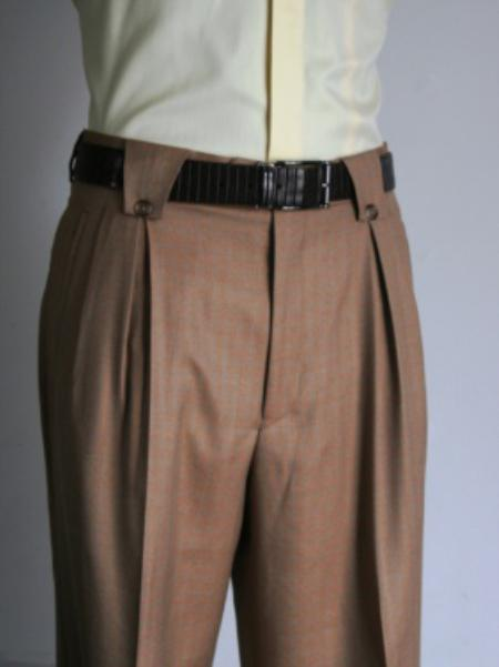 SKU#BW4529 Mens Super 150s 100% Wool Wide Leg Dress Pants / Slacks Bronze $125
