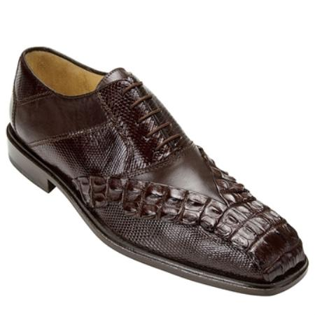 SKU#GY6745 Belvedere Men's Brown Genuine Hornback & Lizard $329