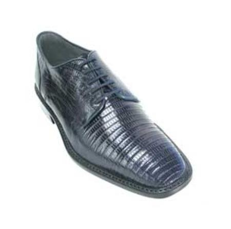Mens Navy Genuine Lizard