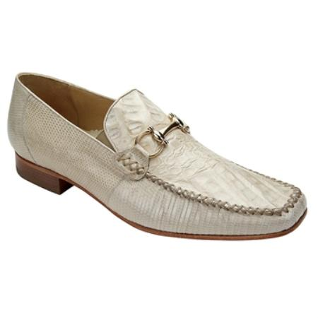 SKU#FT7210 Belvedere Men's  Bone Genuine Crocodile & Lizard Slip On ~ Loafer style $305
