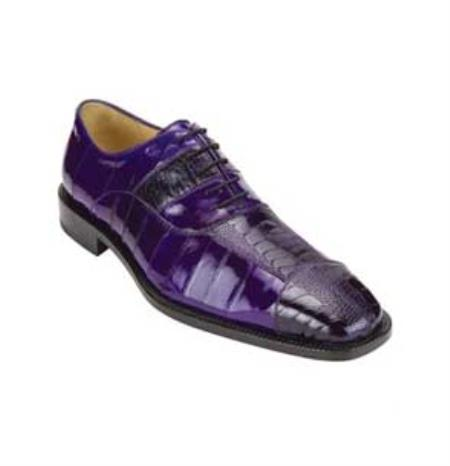 SKU#LS7600 Belvedere Men's Purple Genuine Ostrich & Eel