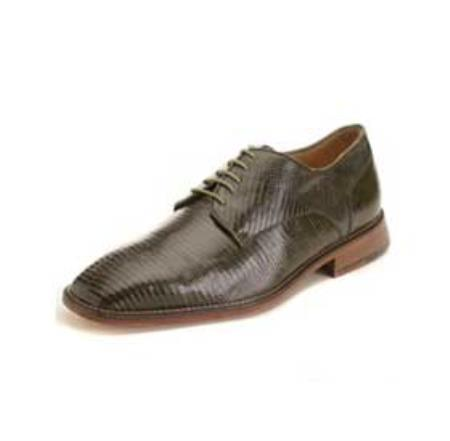 SKU#NR3425 Belvedere Men's Olive Genuine Lizard $305