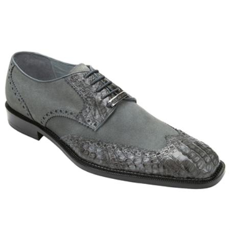 SKU#VT3827 Belvedere Men's Grey Genuine Crocodile & Suede $204