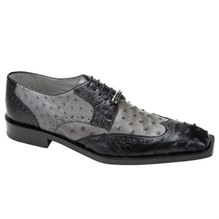 SKU#EH4512 Belvedere Men's Black & Grey Genuine Ostrich $339