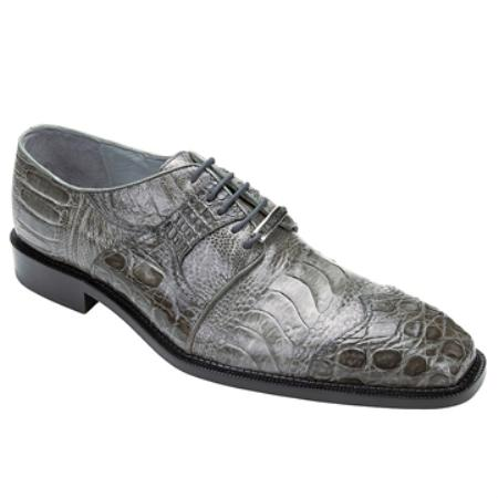 SKU#TU8935 Belvedere Men's Grey Genuine Ostrich & Crocodile $355