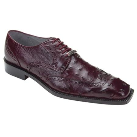 SKU#BT5689 Belvedere Men's Burgundy Genuine Ostrich $339