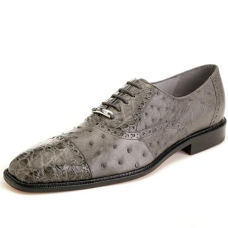 SKU#BQ4527 Belvedere Men's Grey Genuine Ostrich & Crocodile  $315