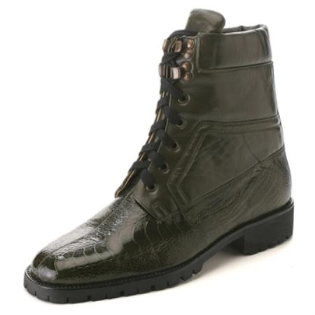 SKU#FH8700 Belvedere Men's Military Green Genuine Ostrich & Calfskin $275