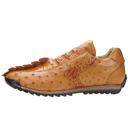 SKU#BH5429 Belvedere Men's Antique Genuine Croc & Ostrich Sneakers $330